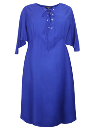 eaonplus ROYAL-BLUE Short Sleeve Lace Up Shift Dress - Plus Size 18/20 to 30/32