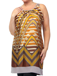 Captive BROWN Sleeveless Chevron Print Jersey Back Dress - Plus Size 14/16 to 26/28