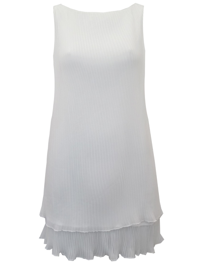 T0PSH0P IVORY Sleeveless Pleated Swing Dress - Size 6 to 16