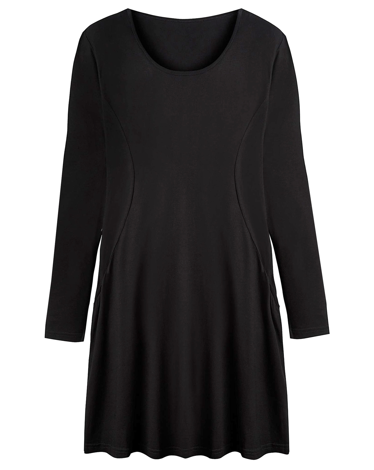 d93cf47a51cc Label Be - - BLACK Plain Swing Dress with Pockets - Plus Size 14 to 36