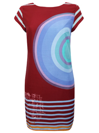 D3sigual MAROON Target Stripe Print Dress - Size Small to XXLarge
