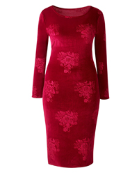 S1mplyBe BURGUNDY Velour Floral Burnout Bodycon Dress - Plus Size 12 to 26