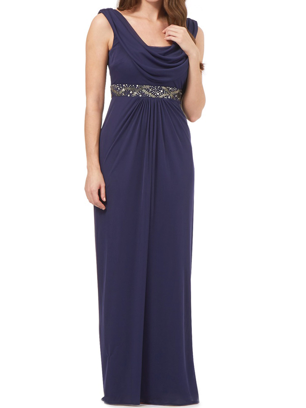 Debenhams - - D3benhams PURPLE Priya Embellished Cowl Neck Maxi ...