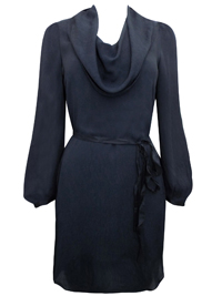 Fr3nchConn3ction TWINKLE BLACK Valli Cowl Neck Ribbon Tie Dress - Size 4 to 16