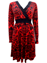 Happy Holly RED Mock Wrap Printed Jersey Dress - Size 6/8 to 18/20