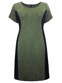 Plus Size Green Marl Jersey Side Panel Dress - Size 16 to 30/32