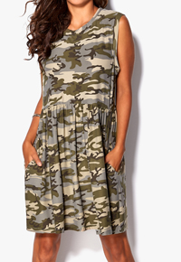 Chiara Forthi KHAKI Oversized Camo Dress - Size 6/8 to 14/16