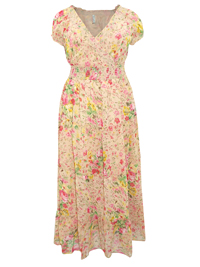 DonnaClaire STONE Floral Print Smocked Waist Maxi Dress - Plus Size 16 to 28