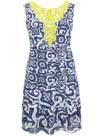 D3sigual Asha NAVY Embellished Lace Panel Printed Dress - Size 8 to 18 (EU 36 to 46)
