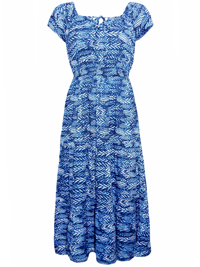 Arista BLUE Printed Tie Neck Maxi Dress - Size 12 to 20