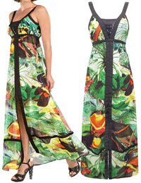 D3sigual Bulgaria GREEN Exotic Print Maxi Dress - Size 36 to 44 (8 to 16)