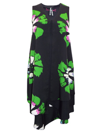 D3sigual ERANTHE BlackGreen Floral Print Chiffon Layered Dress - Size 8 to 18 (EU 36 to 46)