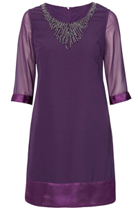 Cellbes PURPLE Bead Embellished Satin Panel Shift Dress - Size 8/10 to 20/22 (EU 34/36 to 46/48)