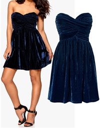 Model Behaviour MIDNIGHT Strapless Crushed Velvet CHARLOTTE Dress - Size 8 to 14 (XS to Large)