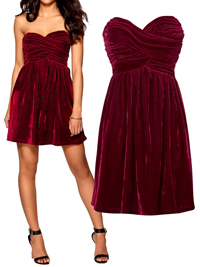Model Behaviour RED Strapless Crushed Velvet CHARLOTTE Skater Dress - Size 8 to 14 (XS to Large)