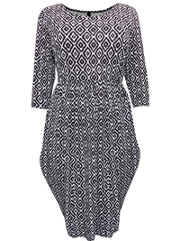Captive Curve BLACK Coveted Drape Side Diamond Print Dress - Plus Size 16 to 30/32