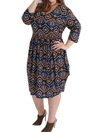 Captive Curve NAVY Coveted Drape Side Tribal Print Jersey Dress - Plus Size 16 to 30/32
