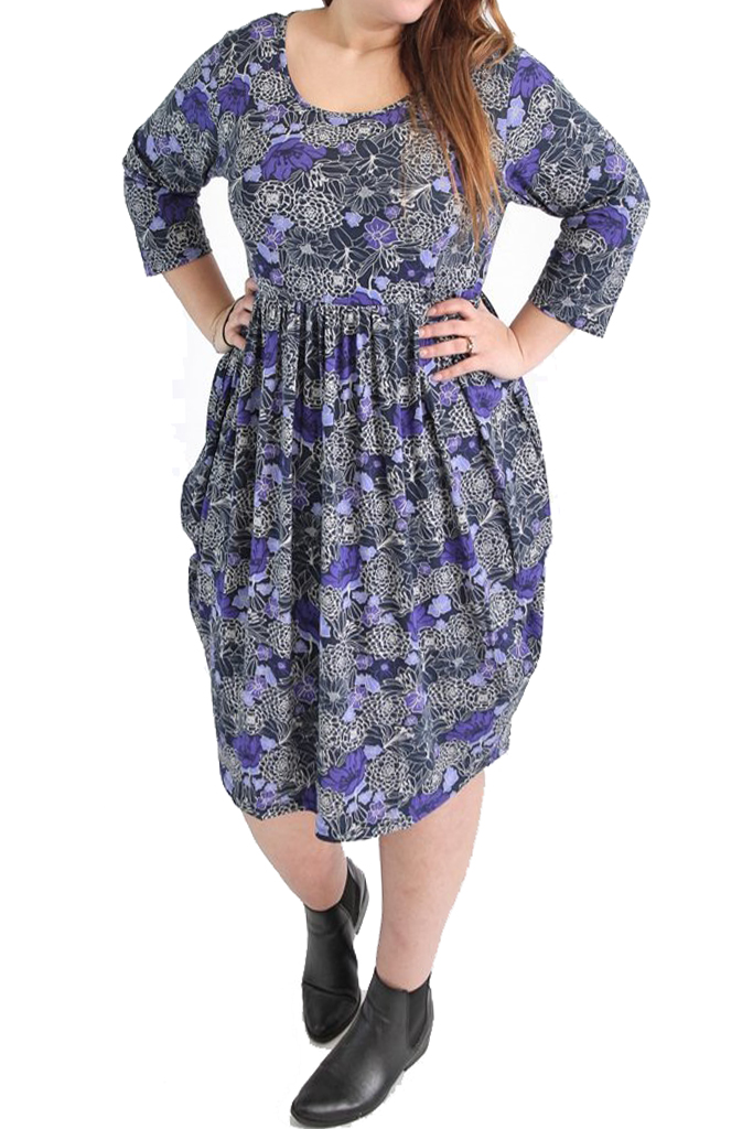 Captive Curve BLUE Coveted Drape Side Sketched Flower Print Dress - Plus Size 16 to 30/32