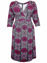 Captive Curve PINK Kaleidoscope Print Crossover Midi Shift Dress - Plus Size 14 to 30/32