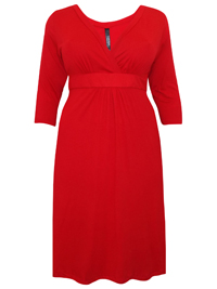 Captive Curve RED Crossover Midi Shift Dress - Plus Size 14 to 30/32