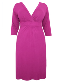 Captive Curve MAGENTA Crossover Midi Shift Dress - Plus Size 14 to 30/32