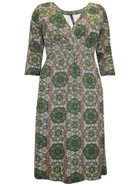 Captive Curve GREEN Kaleidoscope Print Crossover Midi Shift Dress - Plus Size 14 to 30/32