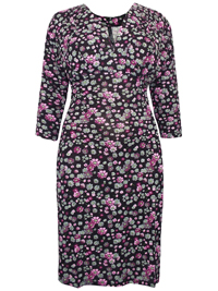 Captive Curve BLACK Floral Print Pleat Feature V-Neck Jersey Dress - Plus Size 14 to 30/32