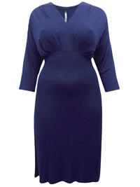 Captive Curve NAVY Pleat Feature V-Neck Jersey Dress - Plus Size 14 to 30/32