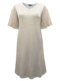 Cellbes CHAMPAGNE Fine Knit Metallic Jumper Dress - Size 8/10 to 20/22 (EU 34/36 to 46/48)