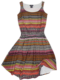 Feathers ORANGE Aztec Print Sleeveless Dress - Size 10 to 14 Small to Large
