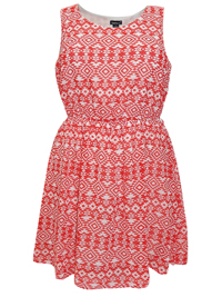 Feathers RED Aztec Print Sleeveless Dress - Plus Size 18 to 22 (1X to 3X)