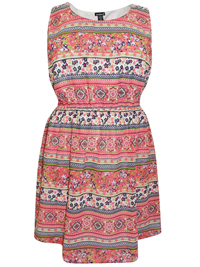 Feathers PINK Tile Print Sleeveless Dress - Plus Size 20 to 22 (2X to 3X)