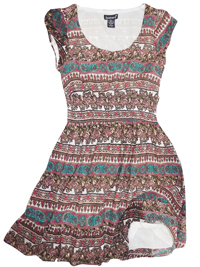 Feathers BROWN Tile Print Smocked Waist Dress - Size 10 to 22 Small to 3X