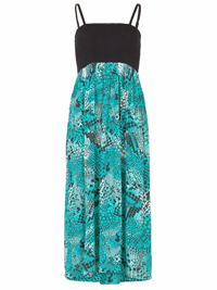 Bonmarche GREEN Animal Printed Smocked Maxi Dress - Size 10 to 24