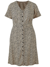 Capsule BLACK Printed Button Through Tea Dress - Plus Size 12 to 32