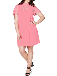 Capsule PINK High Neck Lace Insert Swing Dress - Plus Size 12 to 22