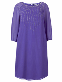 Nightingales VIOLET Embellished Georgette Swing Dress - Plus Size 12 to 28