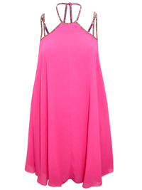 AS0S HOT-PINK Embellished Strap Swing Dress - Size 4 to 18
