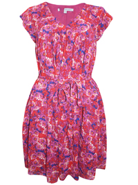 CrewClothing MAGENTA Floral Print Tie Waist Dress - Size 8 to 16