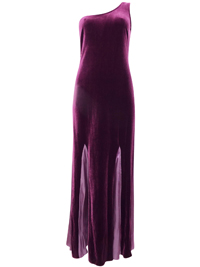 Karida PURPLE One Shoulder Contrast Panel Velvet Maxi Dress - Size 10 to 18