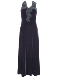 Karida BLACK Frill Trim Velvet Maxi Dress - Size 10 to 18