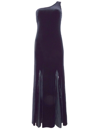 Karida BLACK One Shoulder Contrast Panel Velvet Maxi Dress - Size 10 to 18
