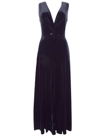 Karida BLACK Twisted Plunge Velvet Dress - Size 10 to 18