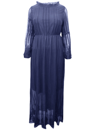 Basicxx Woman NAVY Embroidered Overlay Long Dress - Plus Size 18 to 26