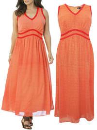 Denim 24/7 ORANGE V-Neck Maxi Dress - Plus Size 22 to 34
