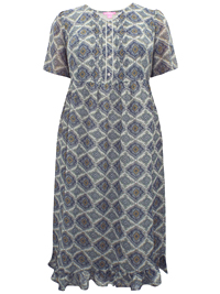 Woman Within GREY Floral Print Pleated Chiffon Dress - Plus Size 14 to 34