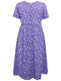 Woman Within PURPLE Button Through Short Sleeve Printed Dress - Plus Size 18/20 to 46/48