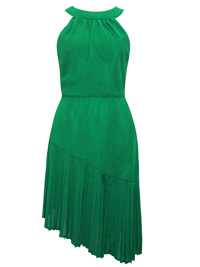 VLabel GREEN Derry High Neck Asymmetric Pleat Dress - Size 4 to 8