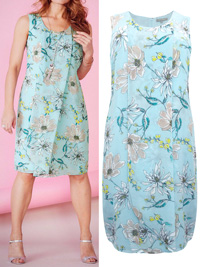 Ann Harv3y MINT Floral Sleeveless Botanical Blooms Dress - Plus Size 14 to 28