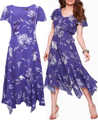 BPC Selection PURPLE Floral Print Cap Sleeve Hanky Hem Dress - Size 10 to 28 (36 to 54)